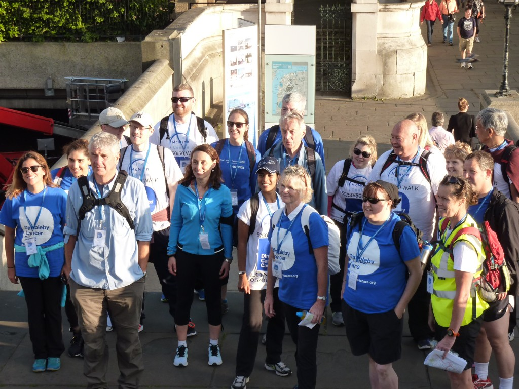 Team photo on the steps up to Westminster Bridge