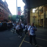 Mr McMinn and his team walking the streets of London