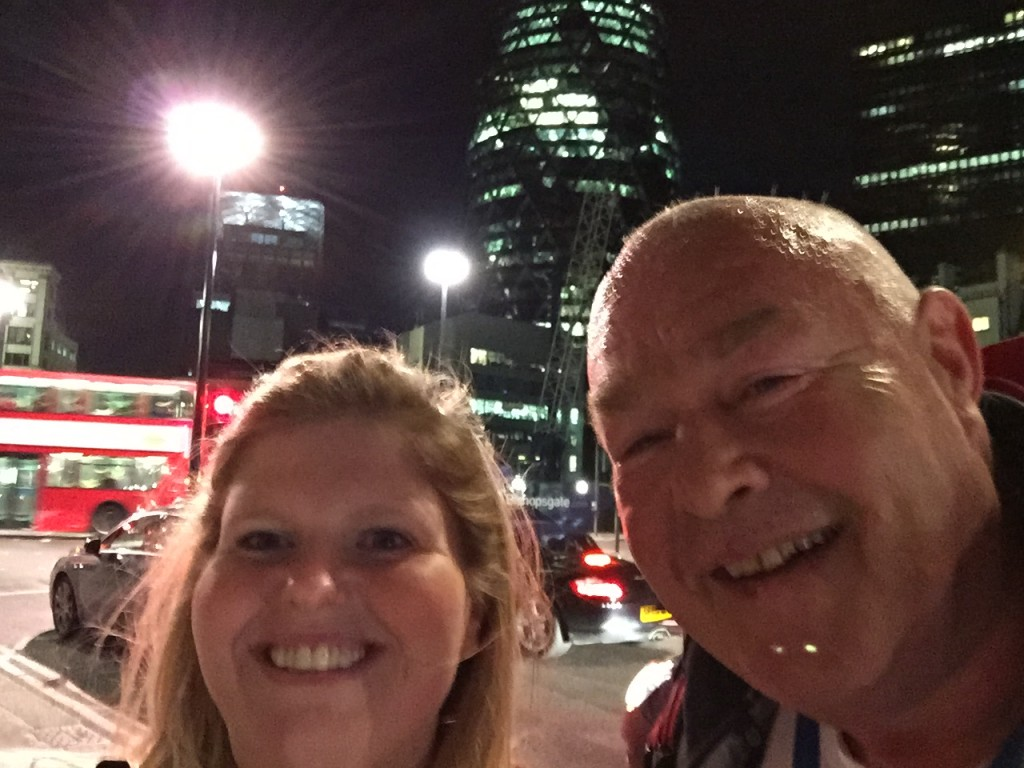 Emma and Mr McMinn at The Gherkin