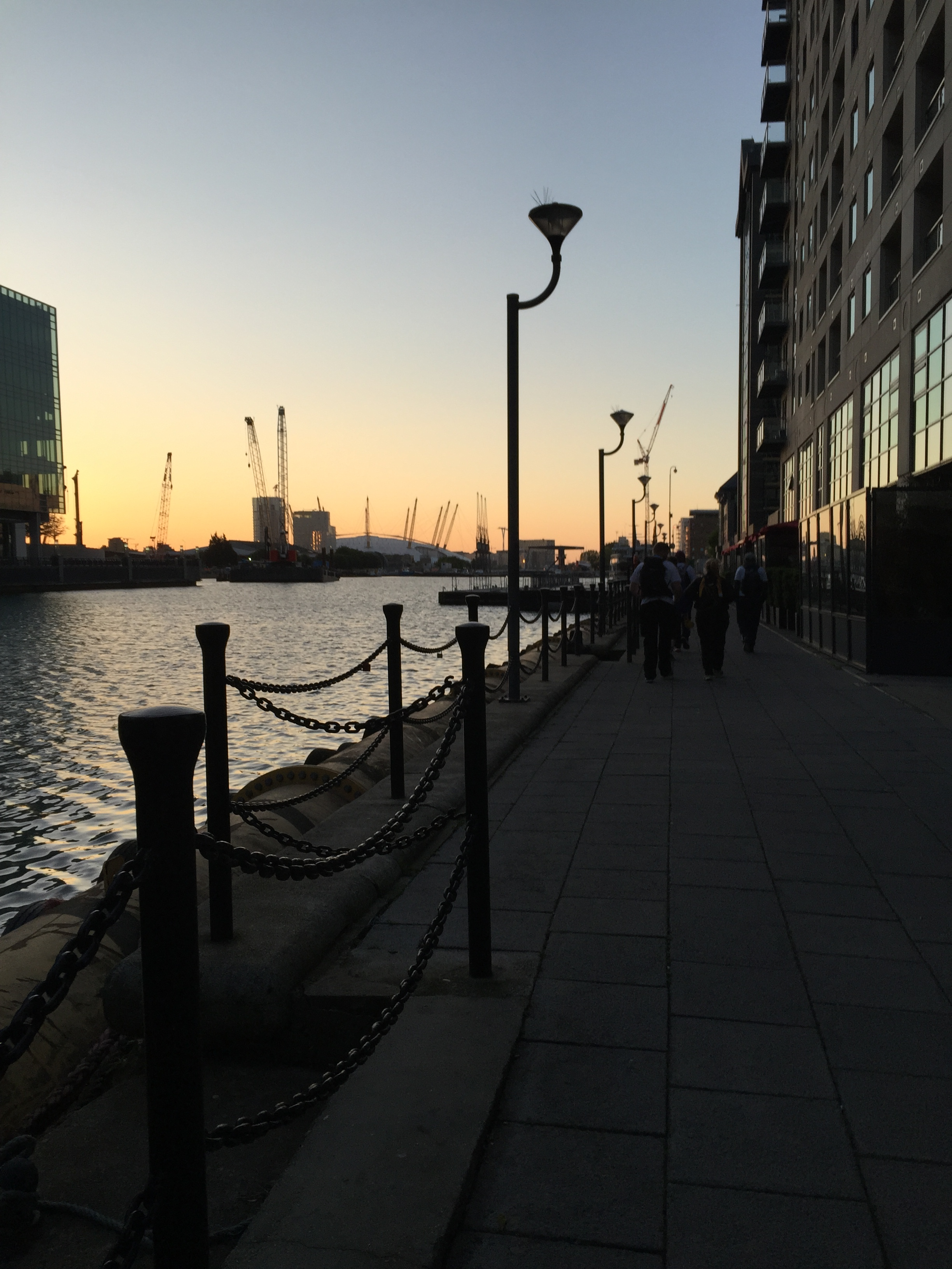 Dawn at Canary Wharf, the o2 Arena on the horizon