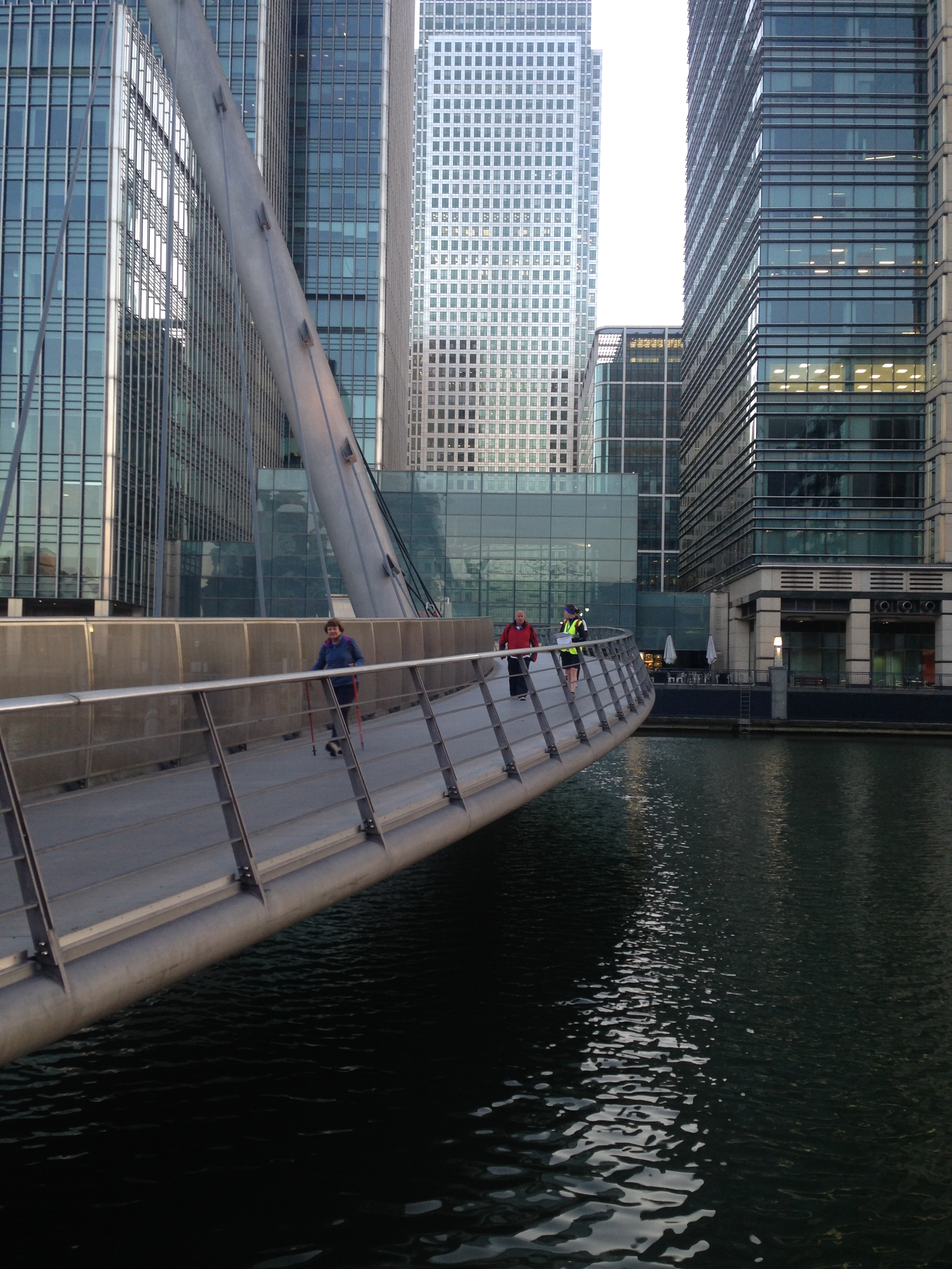 Mr McMinn walking in Canary Wharf