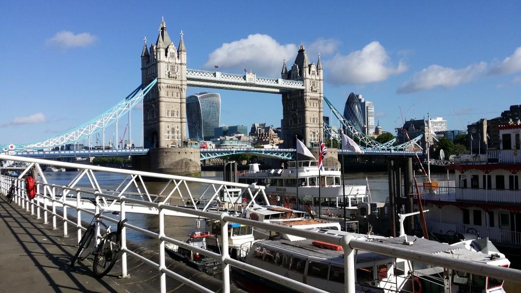 Waiting to reconvene at Tower Bridge