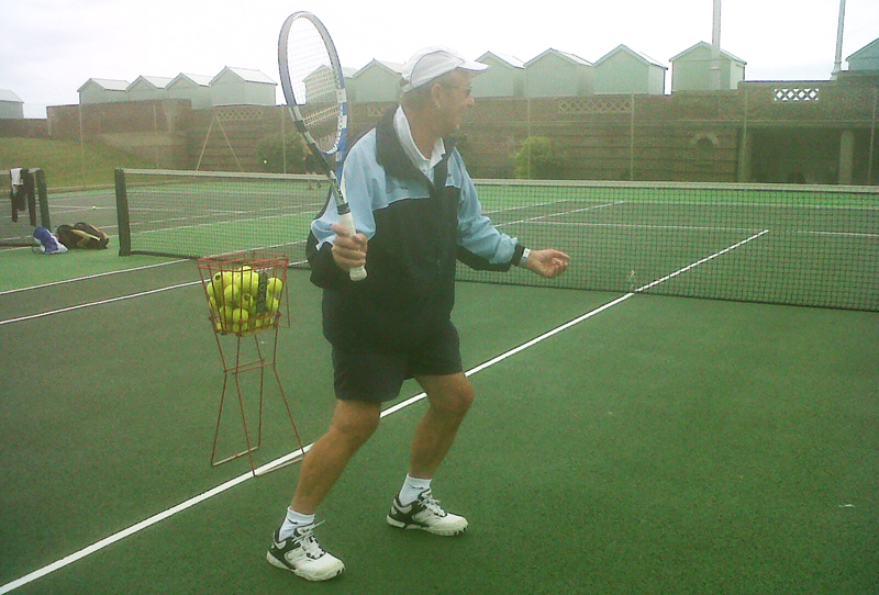 Paul Diggens, BKR and bilateral BHR patient, playing tennis