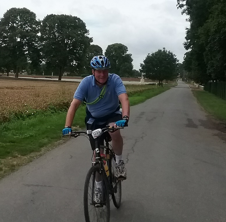 Lord Robathan cycling in France during 'Wheels on the Western Front' challenge