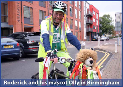 Roderick and his mascot Olly in Birmingham