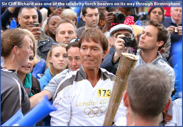Sir Cliff Richard was one of the celebrity torch bearers on its way through Birmingham